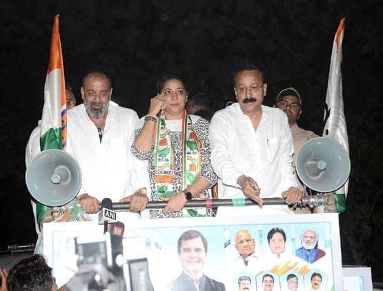 बहन प्रिया के लिए सड़कों पर उतरे संजय दत्त, मांगे वोट