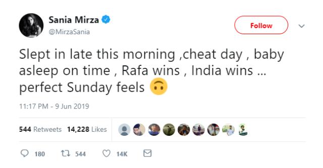 सानिया मिर्जा ने ट्वीट करते हुए लिखा, टीम इंडिया की जीत. क्या शानदार संडे है।