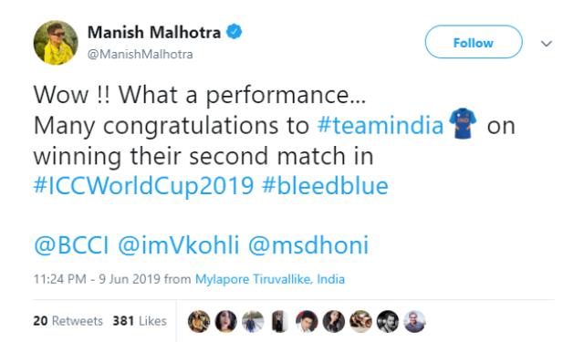 पॉपुलर डिजाइनर मनीष मल्होत्रा ने लिखा, क्या परफॉर्मेंस है. बहुत-बहुत बधाई. दूसरा मैच जीतने की बधाई।